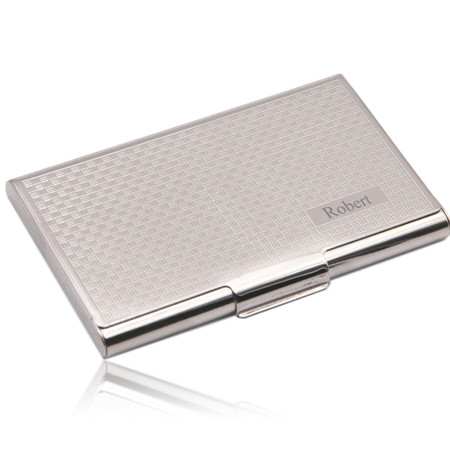 Silver Toned Etched Oval Letter P Monogram Business Card Holder
