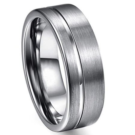 Free Engraving Personalized 8mm Matte Grooved Line Center with Beveled Edge Tisten Ring