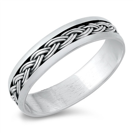 Personalized 5mm Sterling Silver Bali Design Ring
