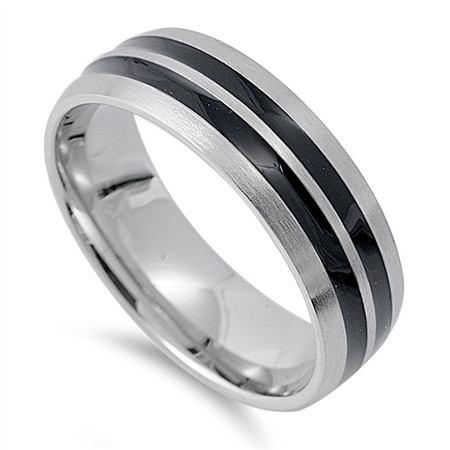 Personalized 7mm  Stainless Steel Two Tone Ring With  Stripes