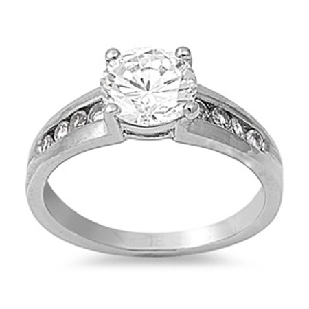 Stainless Steel Quality Half Eternity Ring with Clear CZ