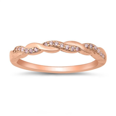 Personalized 3mm Sterling Silver Rose Gold Plated Braided Ring