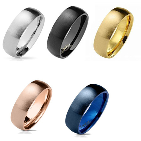 FREE Inside ENGRAVING Matte Finish Surface Classic Dome Black PVD Stainless Steel Band Promise ring Wedding band