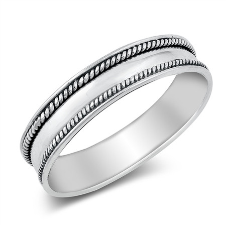Personalized Quality 5mm Sterling Silver Bali Design Ring