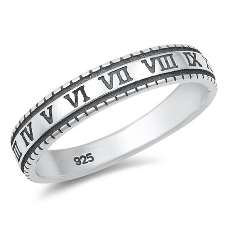 Personalized Quality 3. 5mm Sterling Silver Ring With Roman Numerals