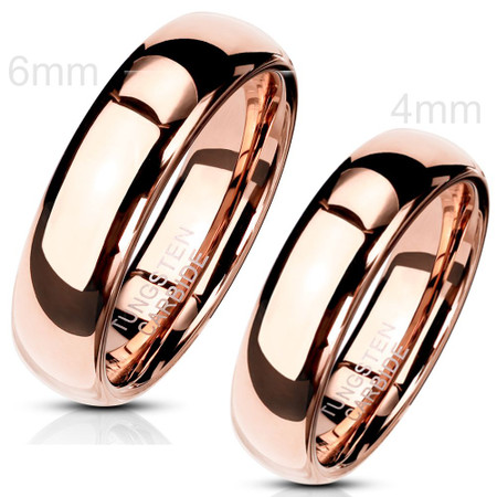 Personalized Rose Gold IP Plated Tungsten Ring