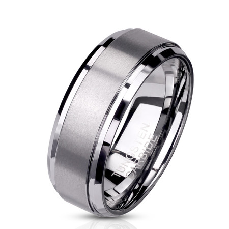 Personalized Quality 6mm Brushed Center Stepped Edges Tungsten Carbide Ring
