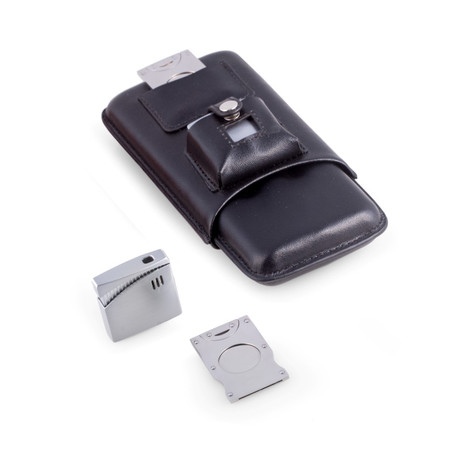 Cigar Case with Cutter and Lighter
