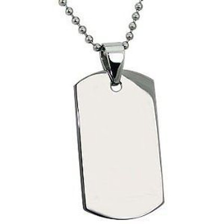 """Stainless Steel Dog tag with 30"""" bead chain"""