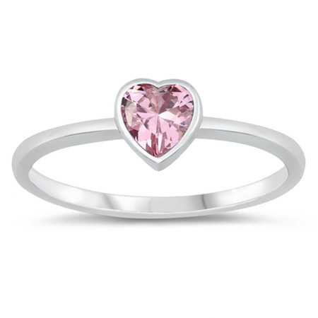 Pink heart Sterling Silver Ring