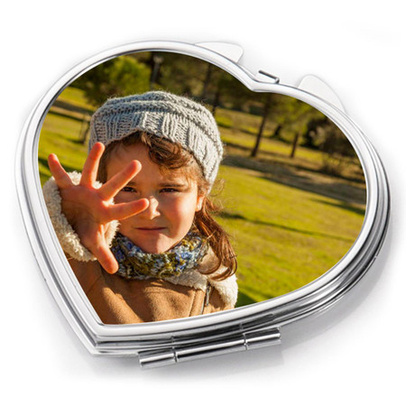 Personalized Heart Shape Compact Mirror