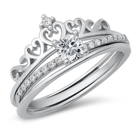 Sterling Silver Crown Solitaire Ring