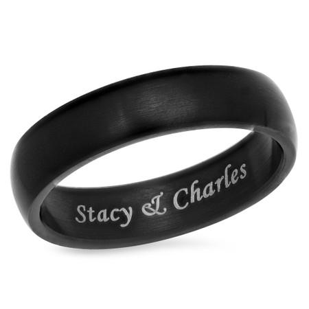 Personalized 6mm Stainless Steel Matt Finish Black Ring
