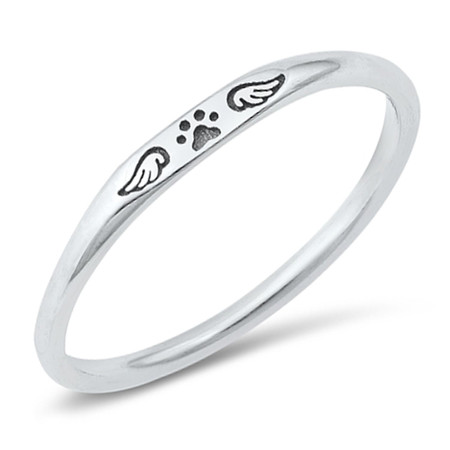 Sterling silver Paw Print and Wing Ring