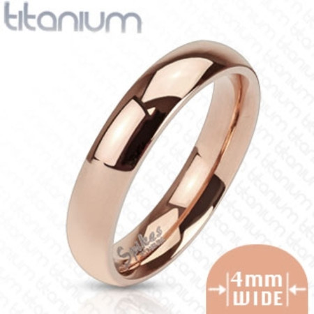 Personalized 4mm Titanium Rose Gold IP Band Ring