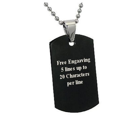 Personalized Stainless Steel Black Dog Tag