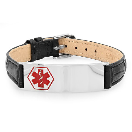 Medical ID Bracelet with Black Leather & Stainless Steel