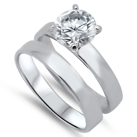 Sterling Silver Wedding Ring Sets Free Engraving Forevergifts Com