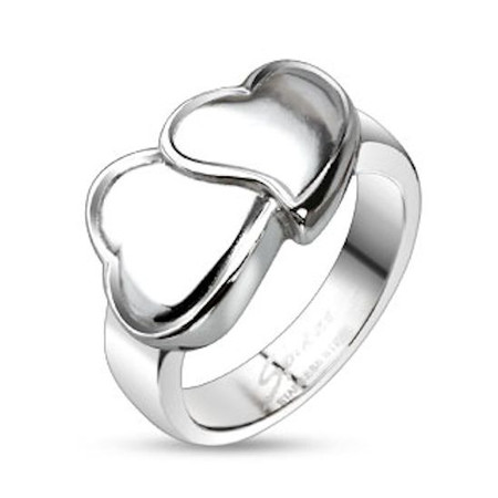 18a4f07d5aa7a Personalized Double Heart Stainless Steel Band Ring