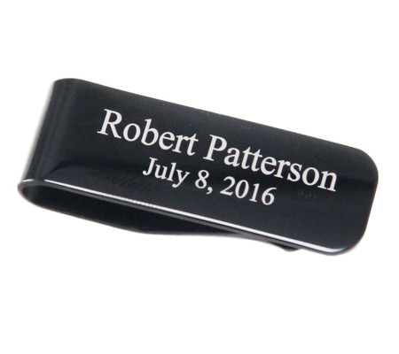 Stainless Steel Black Color Money Clip - Free Engraving