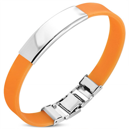 325b5e71f6c39 Stainless Steel with Orange Rubber ID Bracelet