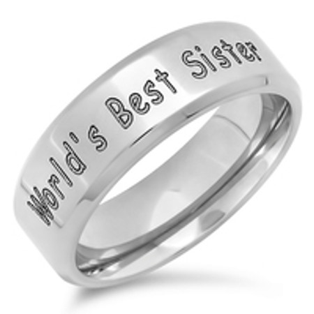 Personalized Stainless Steel World S Best Sister Ring