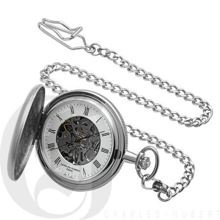 Brushed Finish Hunter Case Mechanical Pocket Watch by Charles Hubert