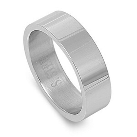 Stainless Steel Matte Finished Criss-Cross Wedding Flat Band Ring