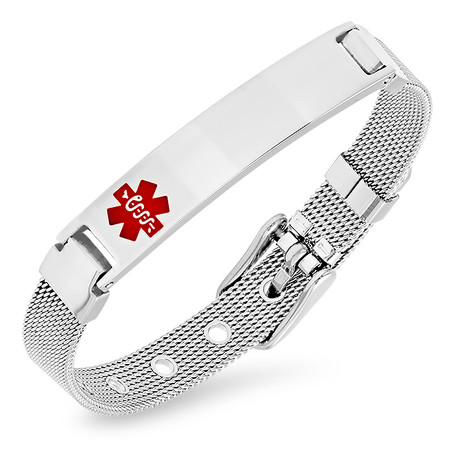 7179cc4025712 Personalized Ladies Quality Mesh Medical ID Bracelet - ForeverGifts.com