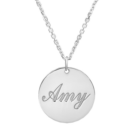 9fcaea1c391 Sterling Silver Small Round Pendant - Free Engraving - ForeverGifts.com