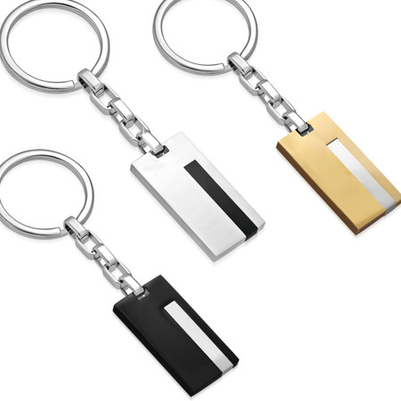 Personalized Quality Stainless Steel 2-Tone Key Chain with Chain