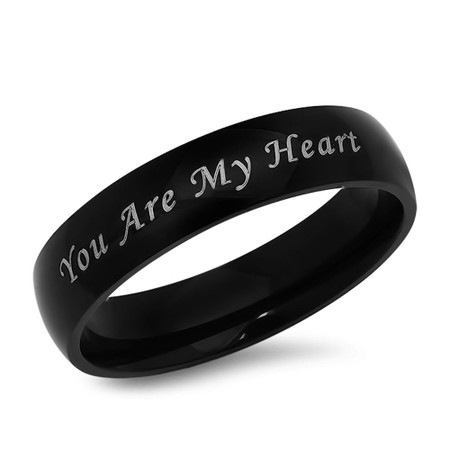 You Are My Heart Stainless Steel Black Promise Ring