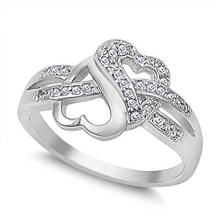 Sterling Silver Heart Shape Infinity Ring with CZ