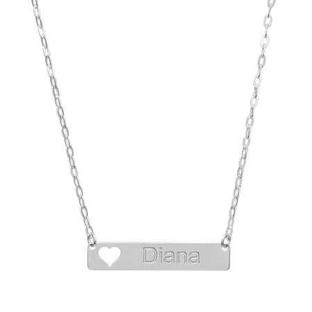 873dd164fbce1 Sterling Silver Small Name Bar Necklace with Heart