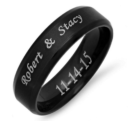 Stainless Steel Beveled Edge Brushed Center Ring - Free Engraving