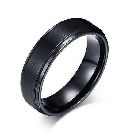 Best Quality Free Gift Box Titanium Black Rubber Ridged Edge 7mm Brushed Band