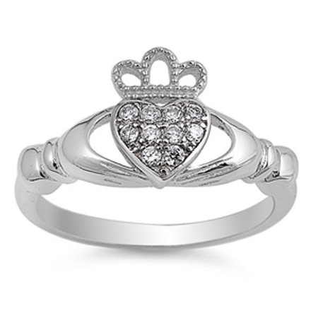 Quality Sterling Silver with Clear CZ Claddagh Ring