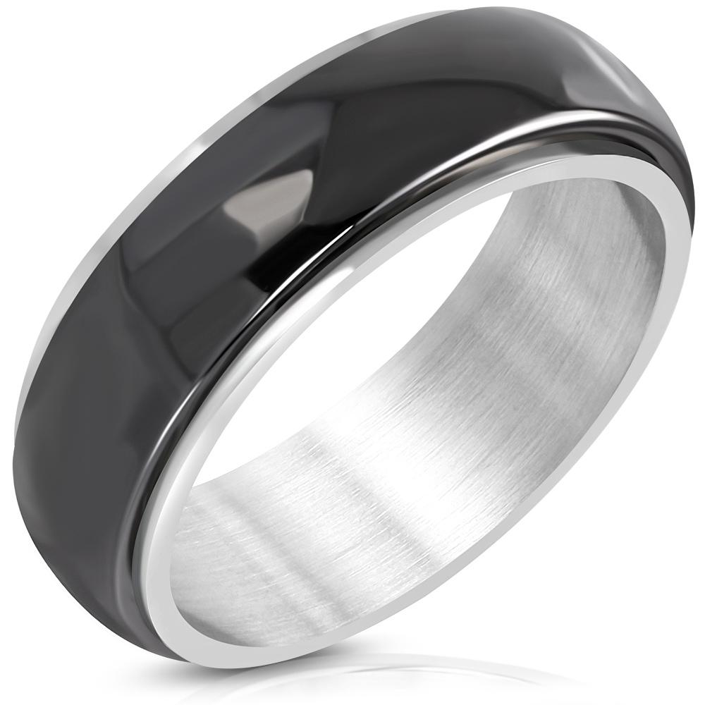 8 MM ENGRAVABLE Stainless Steel Floral Design Black  Silver
