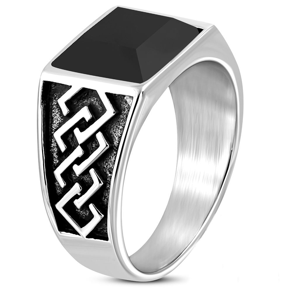 Stainless Steel 2 Color Star Circle Biker Ring