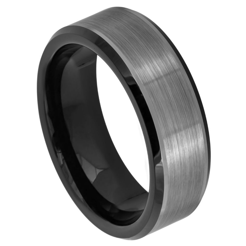 Best Birthday Gift Titanium Striped 8mm Black IP-plated Brushed//Polished Band