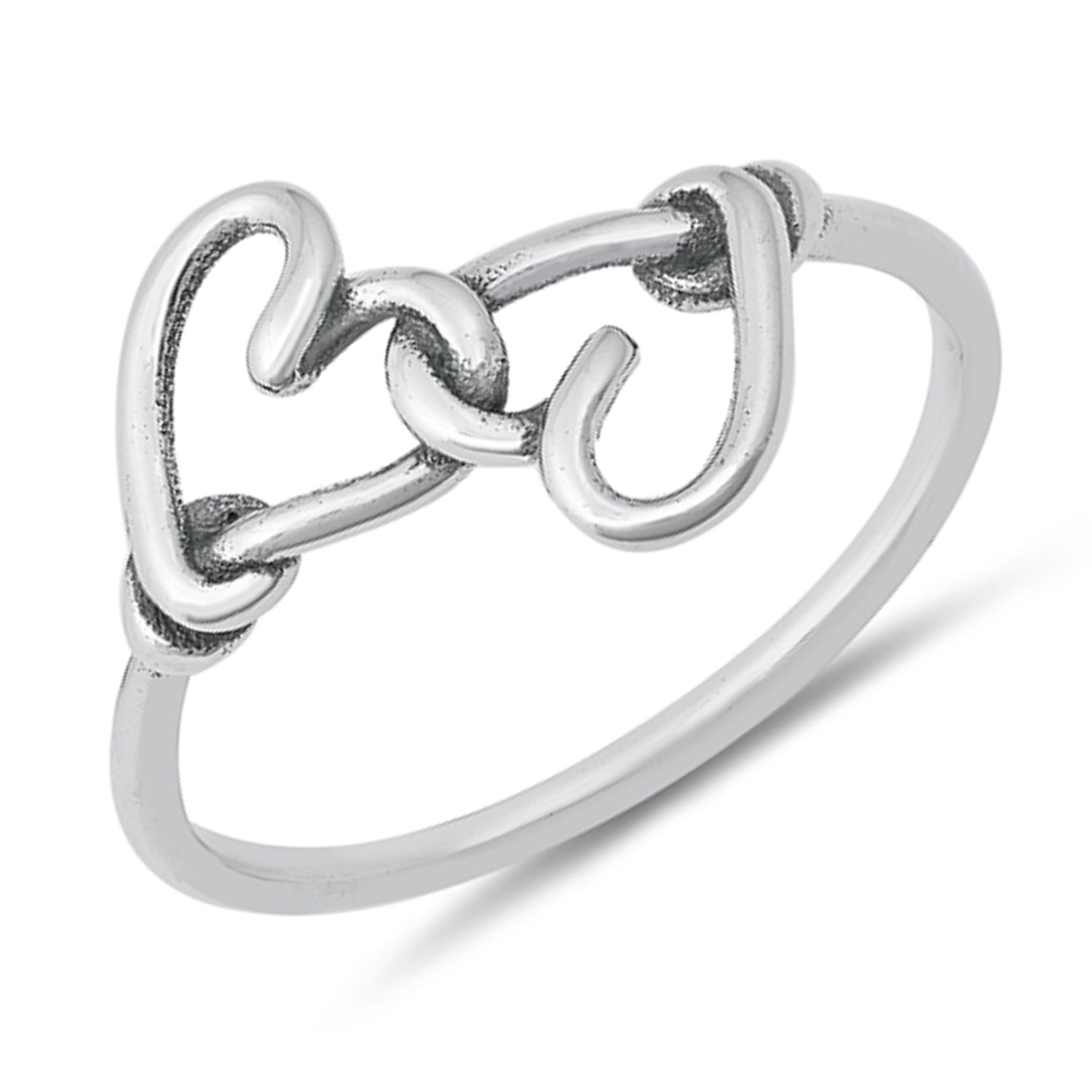 Heart Crown Ring Genuine Sterling Silver 925 Clear CZ Face Height 8 mm Size 8