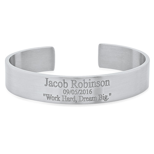 3b8d1a40441 Personalized Stainless Steel Cuff Bracelet for Men - ForeverGifts.com