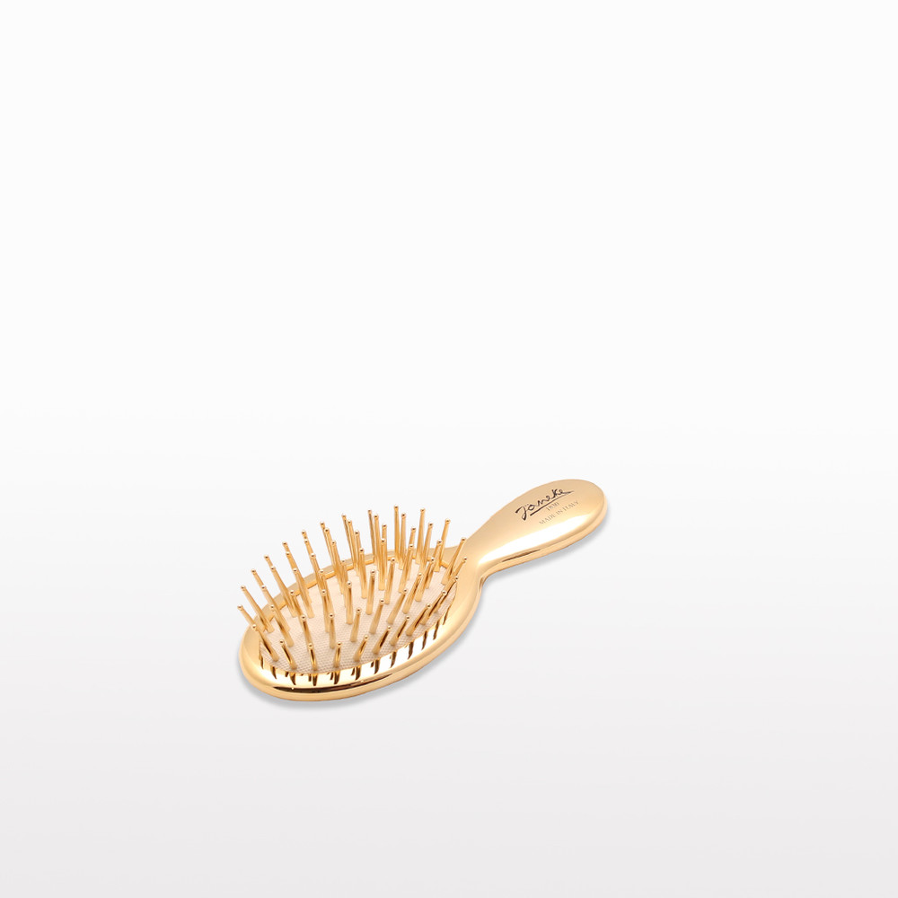 Gold Mini Hairbrush with Gold Bristles (JK-AUSP24G)