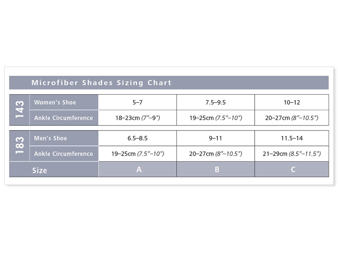 143 and 183 microfiber size chart