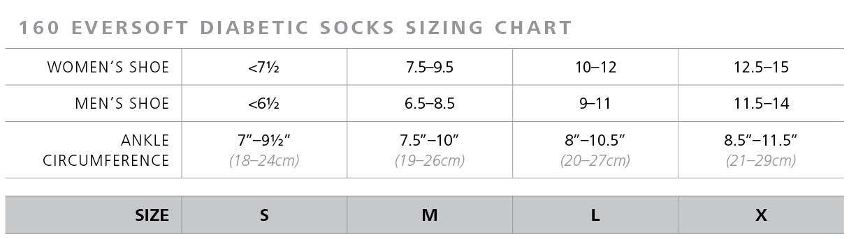 EverSoft Diabetic Socks size chart