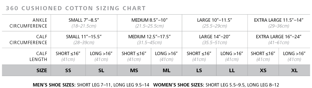 Cushioned Cotton Compression Sock sizing chart