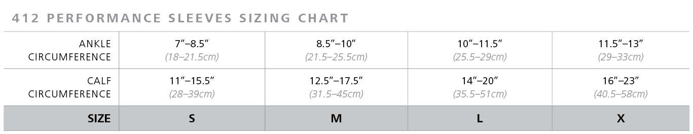 Performance Sleeves sizing chart