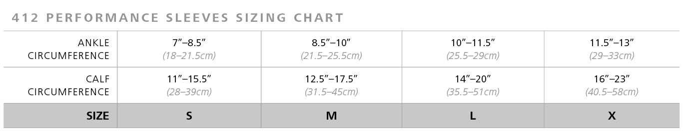 Sigvaris 412 performance sleeves sizing chart