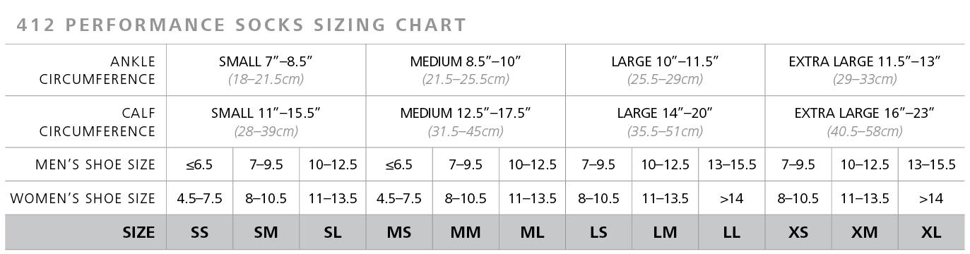 Traverse Socks size chart