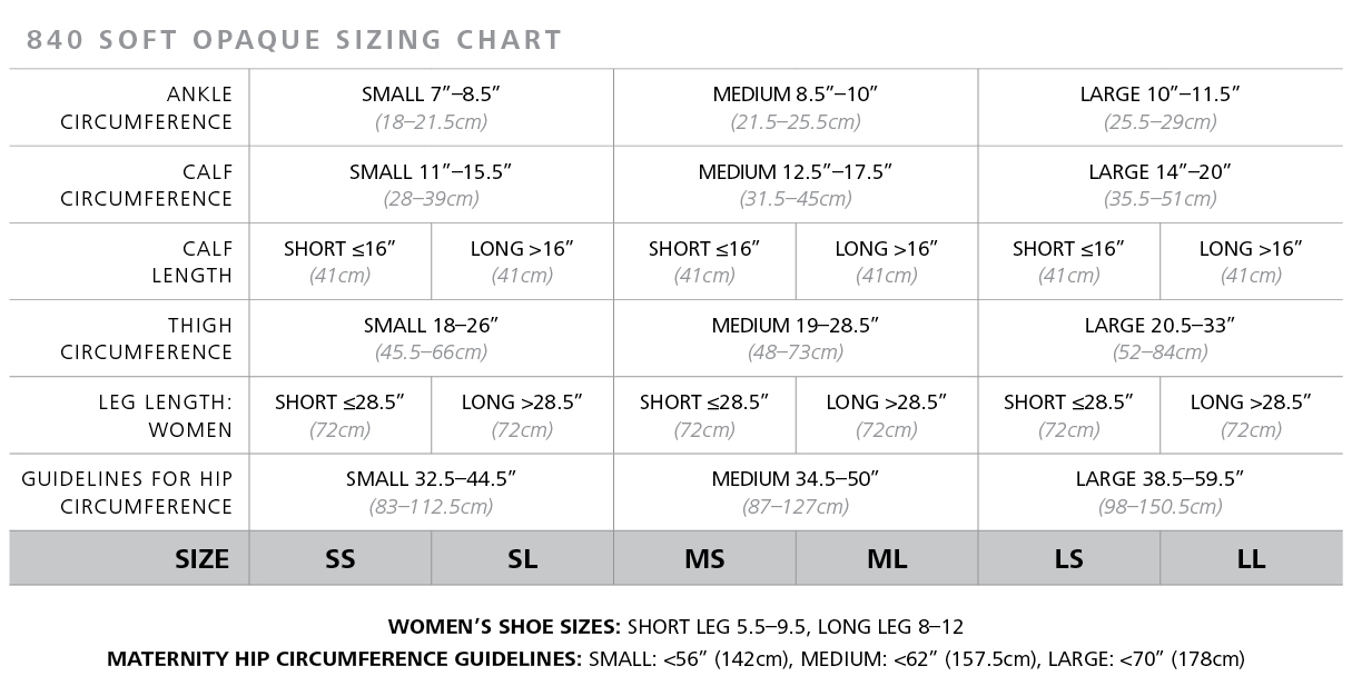 Soft Opaque Stockings sizing chart